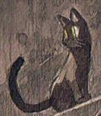 廃墟に黒猫と黒猫耳娘